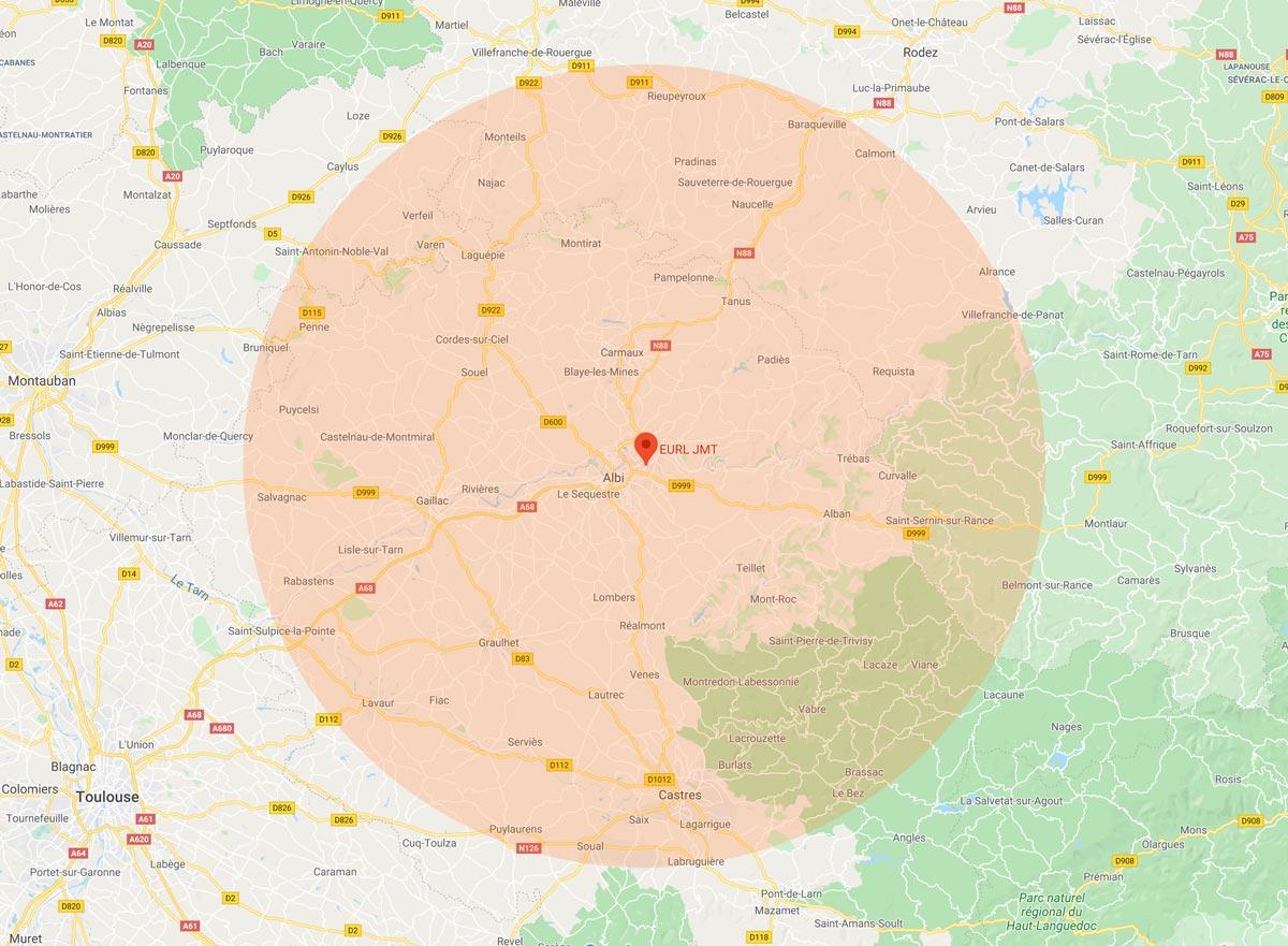 JMT Plombier Albi intervient dans un rayon de 50km autour d'Albi, pour des prestations de chauffage, sanitaire, plomberie et climatisation